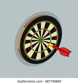 Darts isometric style colorful raster illustration. Metaphor for achieving the goal