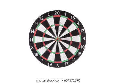 Darts targeting the center of a dartboard isolated on a white background