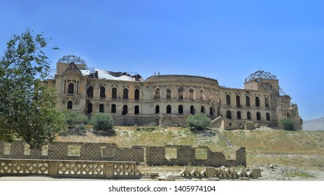 """""""Darul Aman Palace"""" The ancient King's Palace in Kabul, Afghanistan, After destroyed, shoot photo from the street close to the Kabul Museum."""
