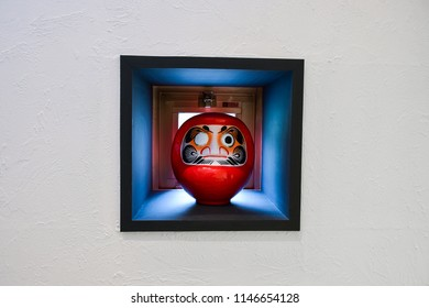 Daruma In Close Up Background. Daruma Dolls In Japan. Daruma Is Traditional Japanese Dolls. Image For Templates, Placards, Banners, Presentations, Reports, Card And Wallpaper. etc