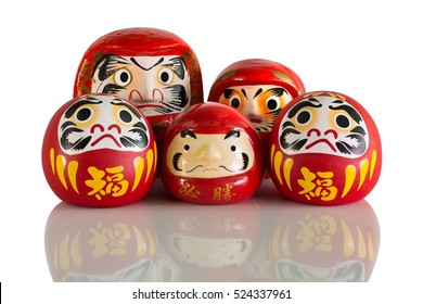 Daruma family, lucky doll Good luck new year of japanese isolated on white background and clipping path