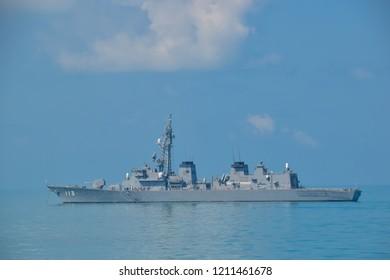DARWIN AUSTRALIA- 30 AUGUST 2018 :JDS Sazanami DD-113 Japanese navy ship anchoring at sea in KAKADU 2018 exercise