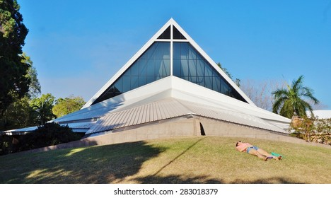 DARWIN, AUSTRALIA -9 AUGUST 2014- Destroyed by Cyclone Tracy in 1974, the Christ Church Cathedral in central Darwin, capital city of the Northern Territory of Australia, was rebuilt in 1977.