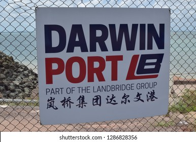 Darwin Australia December 2018: Darwin port sign in English and Chinese language attached to the metal fence.