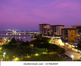 DARWIN, AUSTRALIA - JUNE 28, 2014: The newly developed Darwin waterfront and harbor at sunset.  It is popular with tourists and locals.