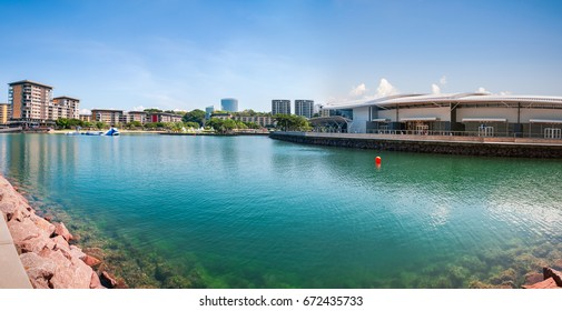 Darwin, Australia - June 3, 2016: Cristal clear water at the Darwin Waterfront, a popular place with shops and restaurants and a Convention Center - Darwin Harbor Wharf, Northern Territory, Australia.
