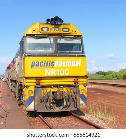 DARWIN, AUSTRALIA - March 20. The Ghan train is departing from the railway station for a long distrance travel to Katherine, Alice Springs, Port Augusta and Adelaide on March 20, 2016 in Darwin.
