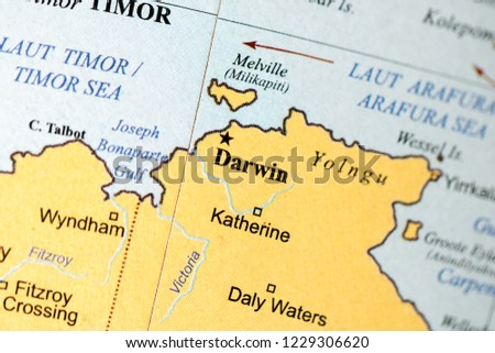 Darwin Map Of Australia.Darwin Australia On Geography Map Stock Photo Edit Now 1229306620