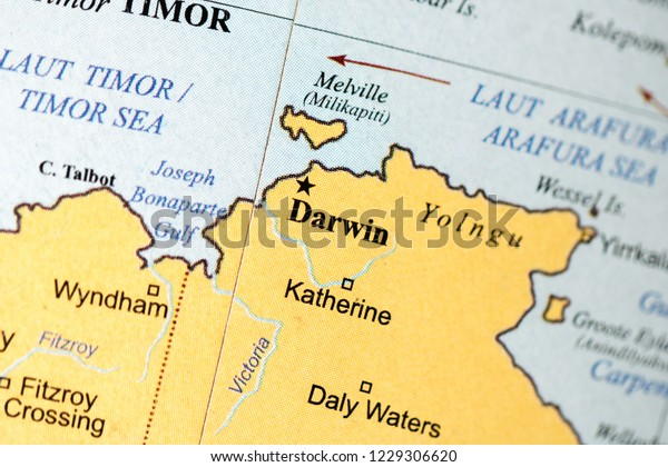 Australia Map Darwin.Darwin Australia On Geography Map Stock Photo Edit Now 1229306620