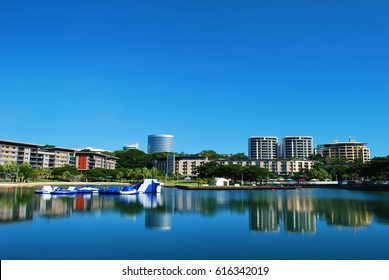 DARWIN, AUSTRALIA. The Darwin waterfront is a popular place for restaurants, shops, water sports, and cruise ships in the capital city of the Northern Territory of Australia.