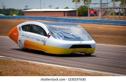 Darwin, Northern Territory / Australia - October 12th 2019: Stella Era from Solar Team Eindhoven drive qualification lap at Hidden Valley for 2019 Bridgestone World Solar Challenge.