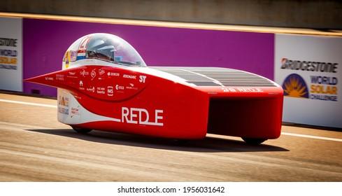 Darwin, Northern Territory, Australia, October 10th 2019, Solar Team Twente, and their car, RED E, drive test lap at Hidden Valley for 2019 Bridgestone World Solar Challenge.