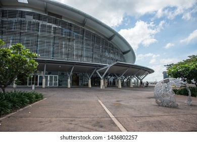 Darwin, Northern Territory, Australia-November 19,2017: Darwin Convention Centre with tourists on the waterfront in Darwin, Australia