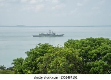 Darwin, Northern Territory, Australia-November 6,2017: Farewell moment for the HMAS Darwin in the harbour with tree tops in Darwin, Australia