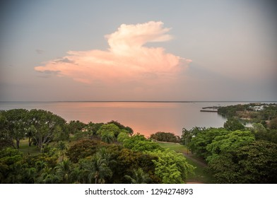 Darwin, Northern Territory/Australia-October 4,2017: High angle view over the Timor Sea and lush trees at Bicentennial Park at sunset in Darwin, Australia