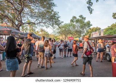 Darwin, Northern Territory/Australia-October 8,2017: Group of people enjoying the Mindil Beach markets at dusk in Darwin, Australia