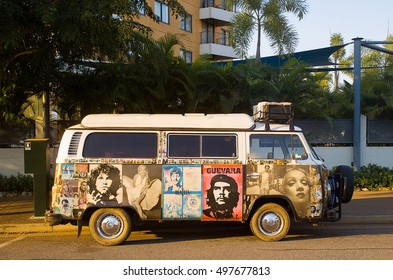Darwin, Northern Territory-July 12, 2005. Decorated Volkswagon Kombi Van on the streets of Darwin, capital city of the Northern Territory, top end of Australia