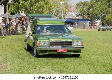 Darwin, NT, Australia- July 27,2018: Automobile procession with a Holden Sandman panel van ute at the Darwin show at outdoor fairgrounds