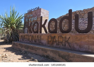 DARWIN, NT - JULY 10 2019: 2019:Kakadu National Park Road Sign.Kakadu National Park re-introduced a park use fee from 2010, to help manage the natural and cultural, environment and visitor services.