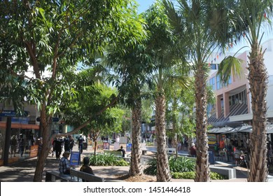 DARWIN, NT - JULY 12 2019: 2019:Visitors at Smith Street Mall a major retail shopping precinct and popular tourist attraction in Darwin CBD Northern Territory of Australia.
