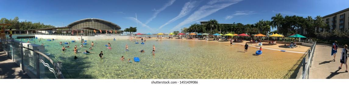 DARWIN, NT - JULY 13 2019: 2019:Panoramic landscape view of the wave pool at Darwin Waterfront Precinct Northern Territory Australia