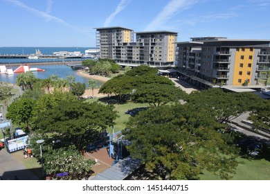 DARWIN, NT - JULY 13 2019: 2019:Aerial landscape view of Darwin Waterfront Precinct , a tourist area in the Northern Territory of Australia in Darwin City.