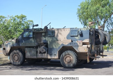 DARWIN, NT - JUNE 12 2019:The Bushmaster Protected Mobility Vehicle or Infantry Mobility Vehicle is an Australian-built four-wheel drive armoured vehicle.
