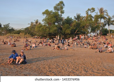Darwin, NT -JUNE 23 2019:Australian people and tourist are watching the sunset from Mindil Beach a very popular tourist attraction in Darwin Northern Territory Australia