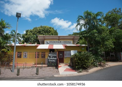 Darwin,Northern Territory/Australia-February 21,2018: Deckchair Cinema building with lush greenery on a sunny day in Darwin, Australia