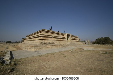 Dasara Dibba a grand ornate stone-carved raised platform where Vijayanagar Kings and their entourage sat and watched annual Dasara festivities. Built 14th century at Hampi in Karnataka, India.