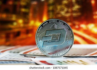 Dash coin over colorful background