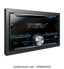 In Dash Receiver with USB Aux Ports Isolated on White. Multimedia DVD CD Receiver with 7 inch Touchscreen Flip-Down Monitor Display. Car Audio System with GPS. Car Electronics. GPSCar Audiocar Stereo