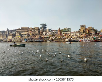Dashashwamedh Ghat, River Ganges, Varanasi, Uttar Pradesh, India; 30-Jan-2019; a fisherman rowing a boat in the Ganges and some Siberian migratory birds swimming