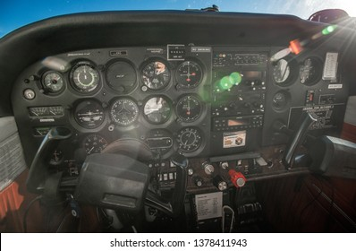 The dashboard of Cessna 172 Skyhawk airplane, which is popular for aircraft trainer