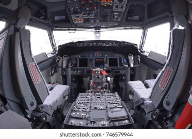 Dashboard in a cockpit of an aircraft Boeing 737-400. Boryispil airport administration's demonstration for mass-media newly purchased Boeing 737-400. July 21, 2016. Boryspil, Ukraine