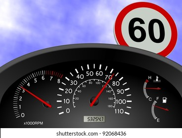 A dashboard indicating a car speed over the limit / Speeding