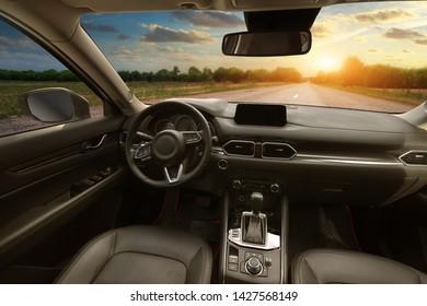 Dashboard inside car. Element of design. Travel and transportation scene.