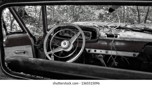 Dashboard of old American Car in black and white