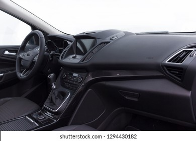 dashboard and steering wheel of a modern car