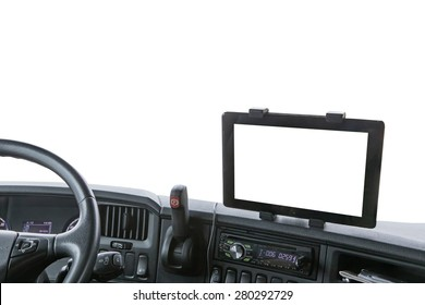 Dashboard of the truck isolated on the white background. Navigation display is ready for your text.