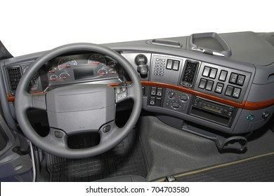 Dashboard view from big truck driver seat