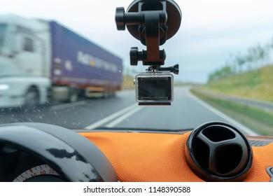 dashcam in car on street