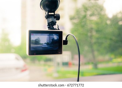 dashcam on a windshield recording