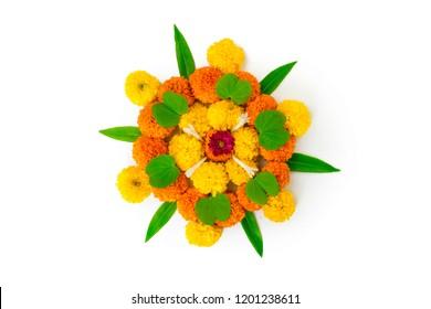 Dashera Festival apta leaf with rangoli  of flowers