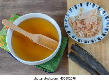 Dashi stock preparation. Dashi is a fundamental ingredient in many Japanese dishes. It is made from kombu , bonito flakes (dried smoked skipjack tuna, shaved into thin flakes) or anchovies/sardine.