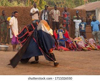 Dassa, Benin - 31/12/2019 - Ceremonial mask dance, Egungun, voodoo, Africa