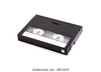 A DAT tape on a white background with logos removed