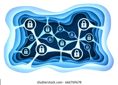 Data access protection and computer network security concept, blue paper layers with a chain of locks icons isolated on white ,3d illustration
