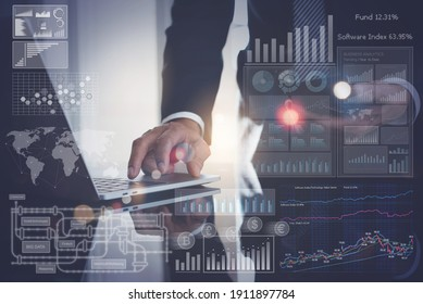 Data analysis, Business intelligence (BI), business analytics (BA) with key performance indicators (KPI) dashboard concept. Businessman working on laptop with financial graph and market report