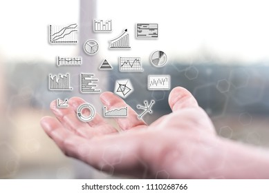 Data analysis concept above a hand of a man